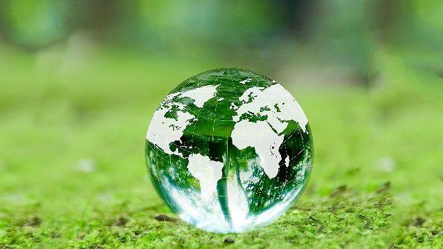 s-地球儀と新緑